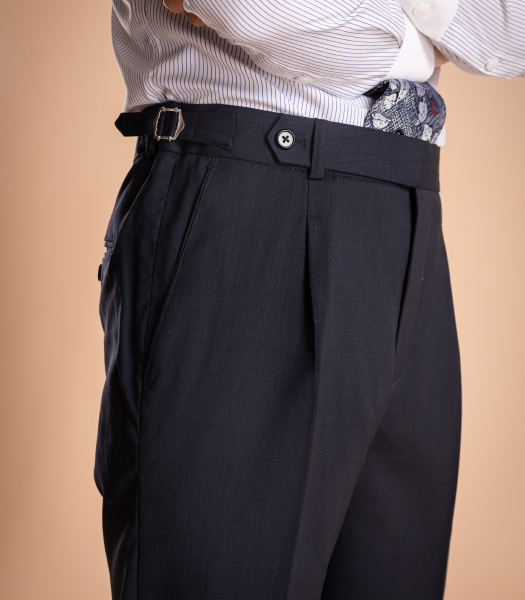 Mid Navy Side Tabs Trouser