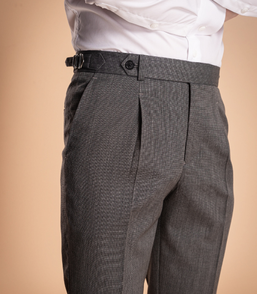 Light Grey Side Tabs Trouser Worsted Wool