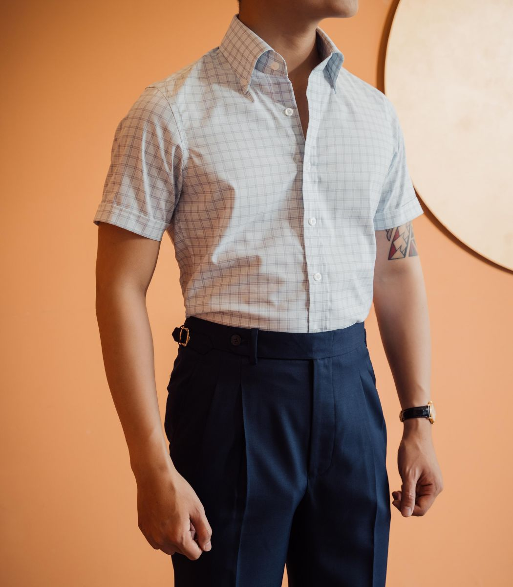 SQUARES LINES SUMMER OFFICE CUTAWAY COLLOR SHIRT