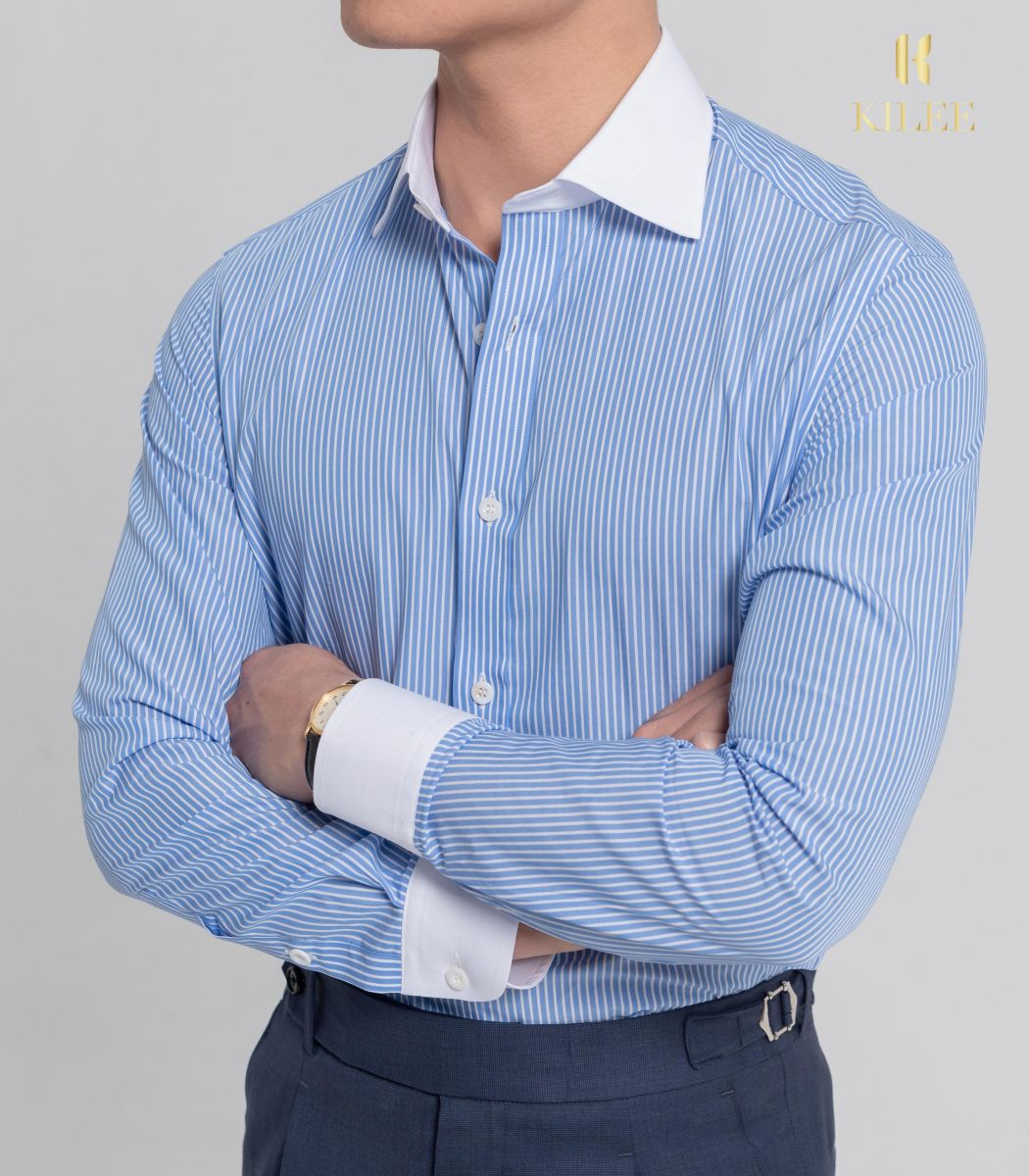 Blue Striped Contrast Collar Shirt