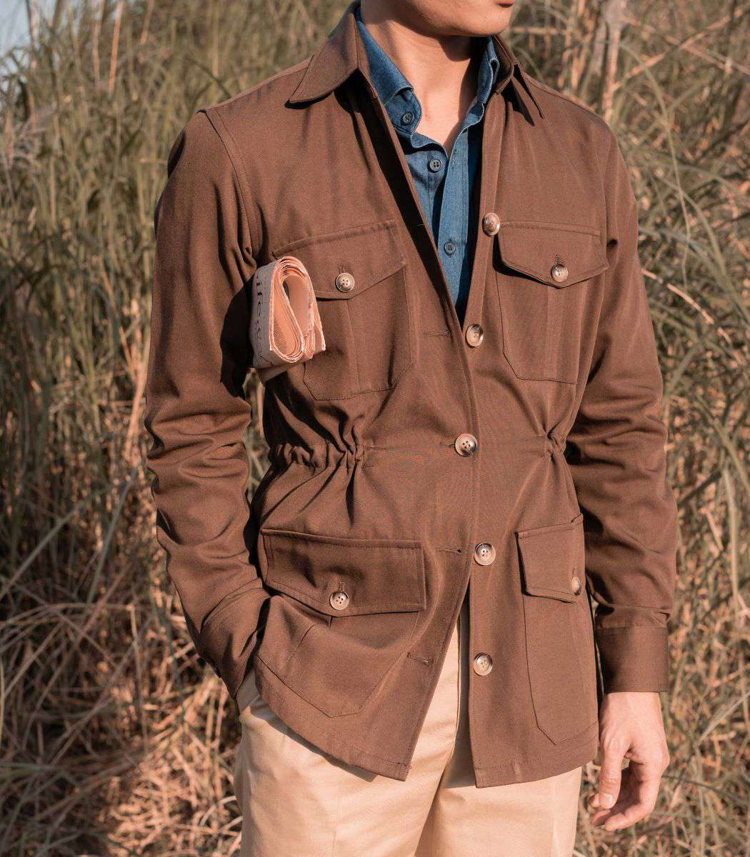 Áo Safari Jacket Nâu Cotton